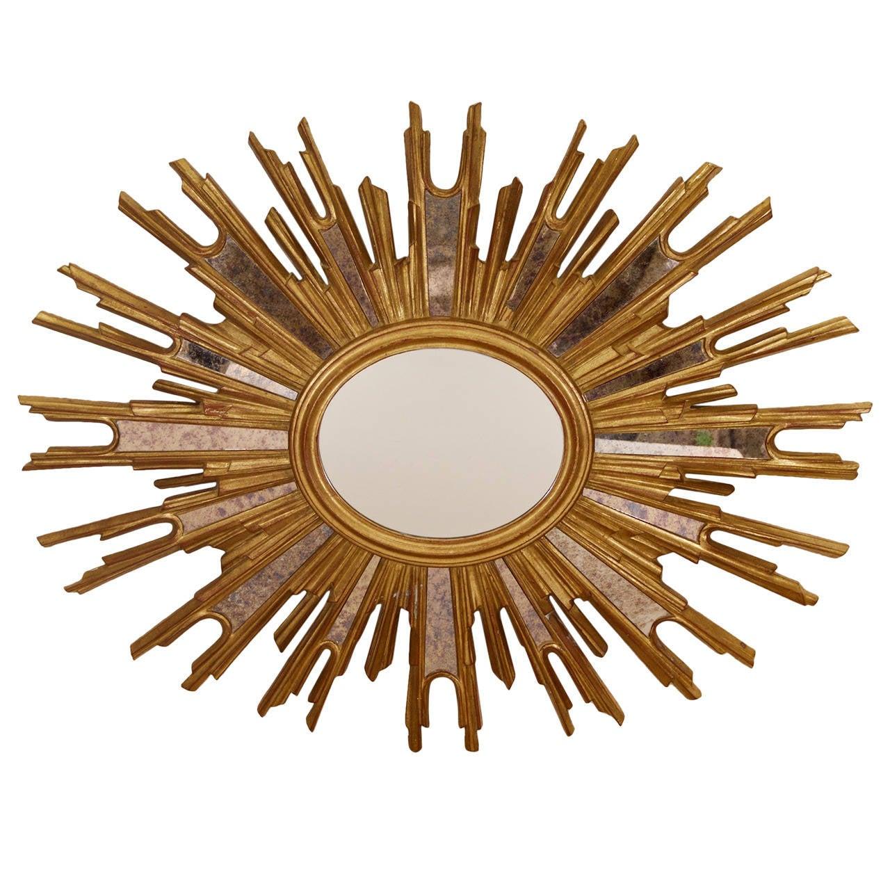 Belgian oval gilt sunburst mirror at 1stdibs for Sunburst mirror