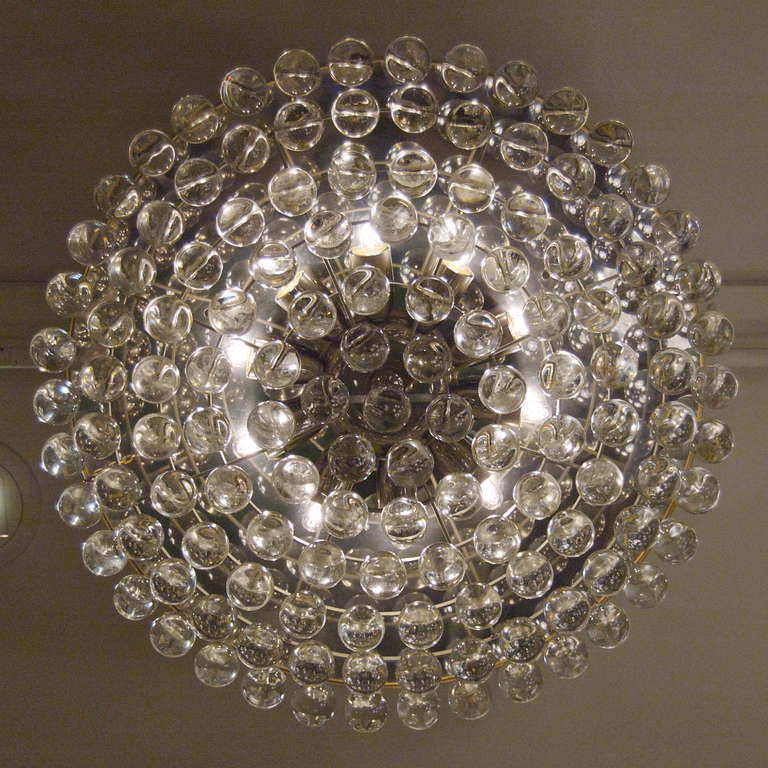 large and beautiful christoph palme flush mount chandelier with crystal balls 3