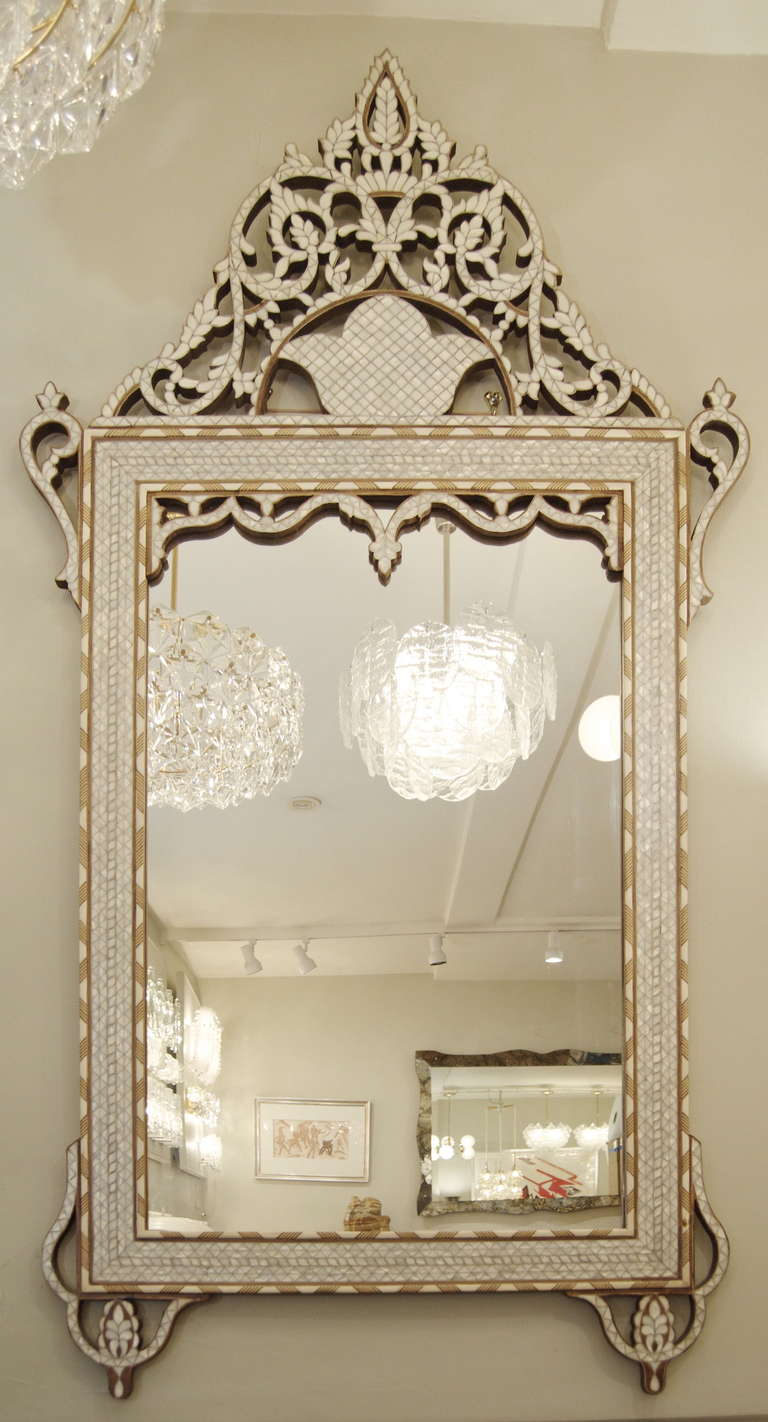 An Excellent And Large Mirror With Inlay Detail Work Of Wood Bone Mother