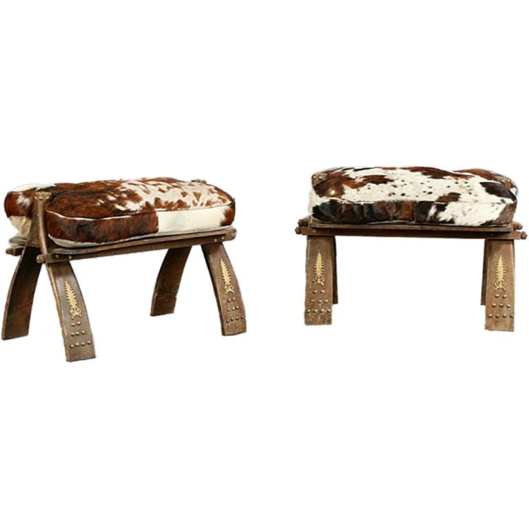 Pair Of Cowhide Camel Saddle Stools At 1stdibs