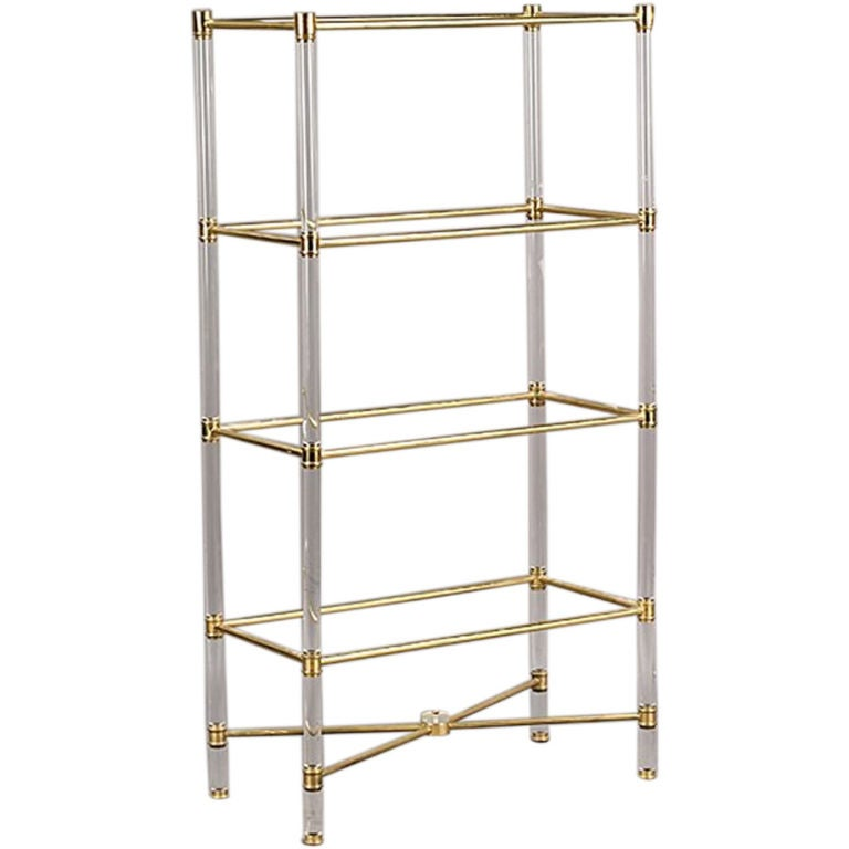 lucite glass and brass etagere at 1stdibs. Black Bedroom Furniture Sets. Home Design Ideas