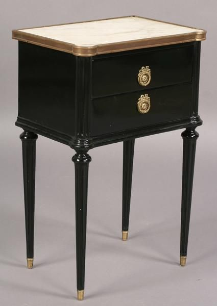 Pair Of Black Lacquer Jansen Marble Top Night Stands At