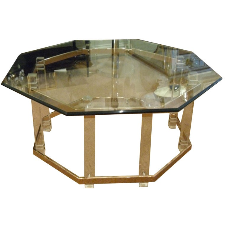 Brass lucite and glass octagonal coffee table at 1stdibs for Lucite and brass coffee table
