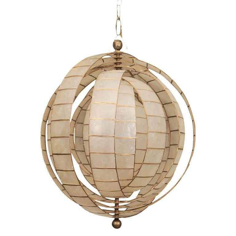 spherical capiz hanging fixture at 1stdibs. Black Bedroom Furniture Sets. Home Design Ideas