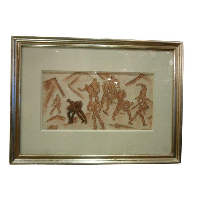 Framed 1930's Drawing