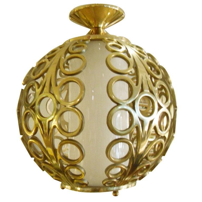 Brass Circle Motif Hanging Globe Light At 1stdibs