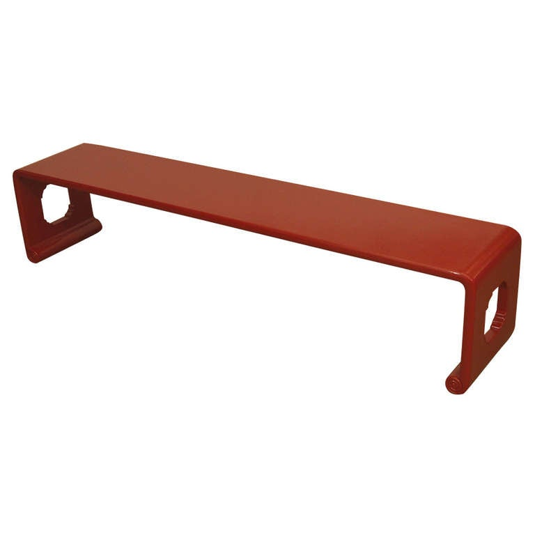 Asian Inspired Narrow Red Lacquer Bench At 1stdibs