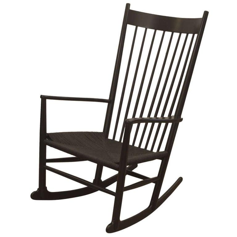 Ebonized Hans Wegner Rocking Chair at 1stdibs
