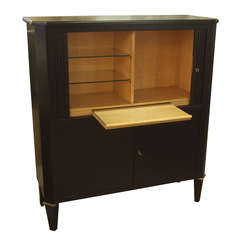 Ebonized Tambour Bar Cabinet in the Style of Maison Ramsay