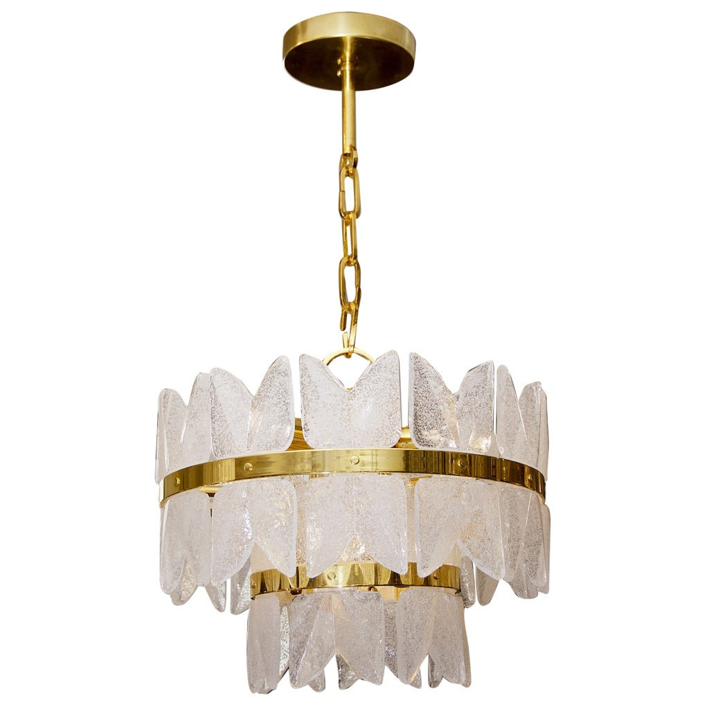 Unusual gold plate kalmar frosted glass chandelier at 1stdibs - Lights and chandeliers ...