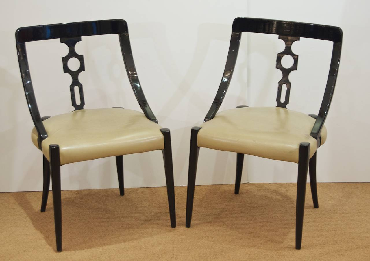 Black Lacquer Dining Room Chairs Ten French Black
