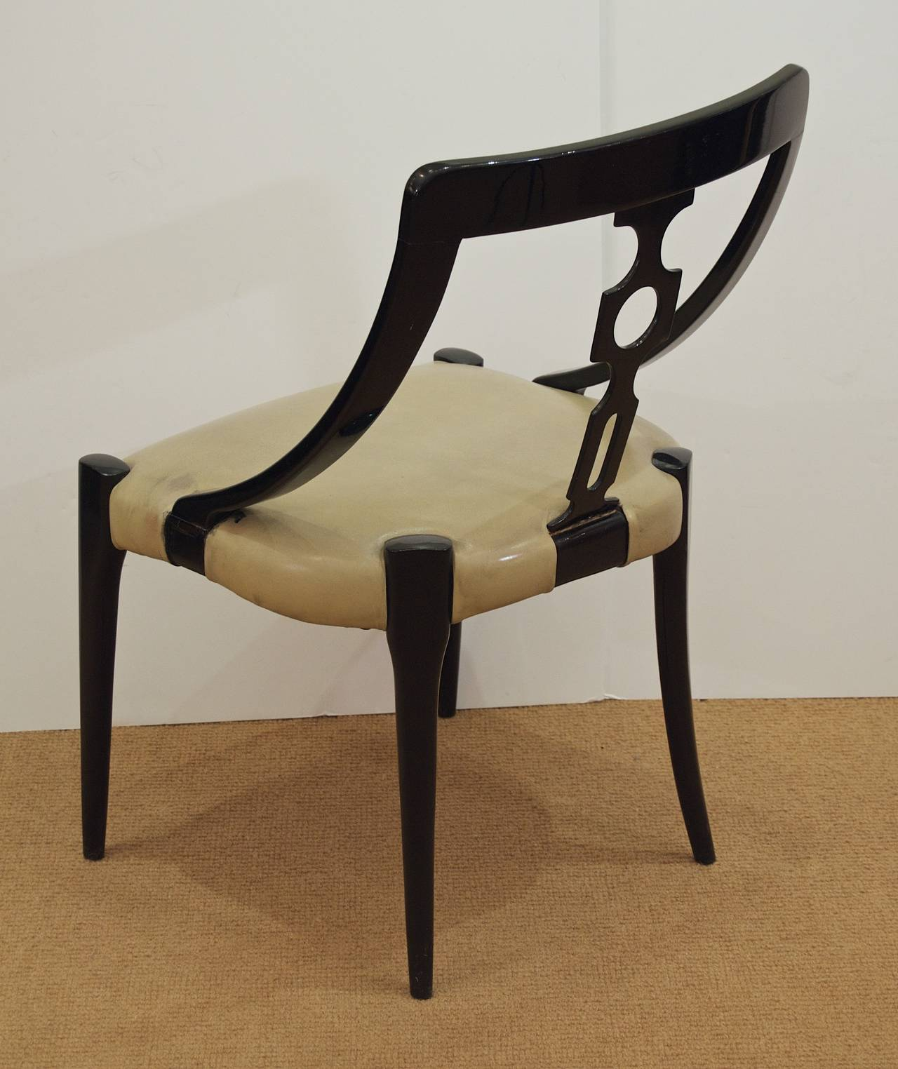 Black Lacquer Dining Room Chairs: Ten French Black Lacquer Dining Room Chairs At 1stdibs