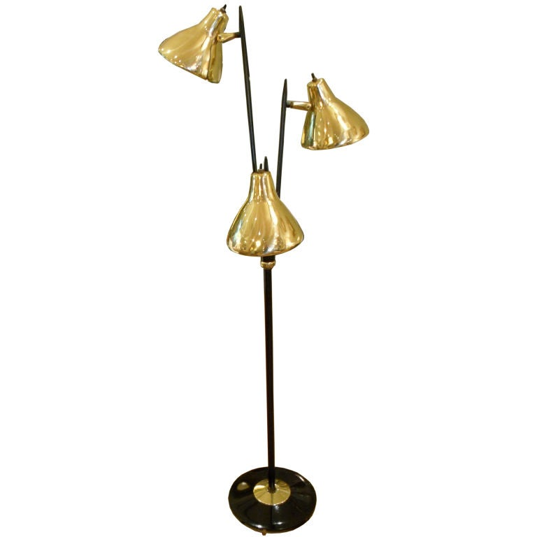 Brass Floor Lamp Mid Century: Mid-Century Black And Brass Standing Floor Lamp At 1stdibs