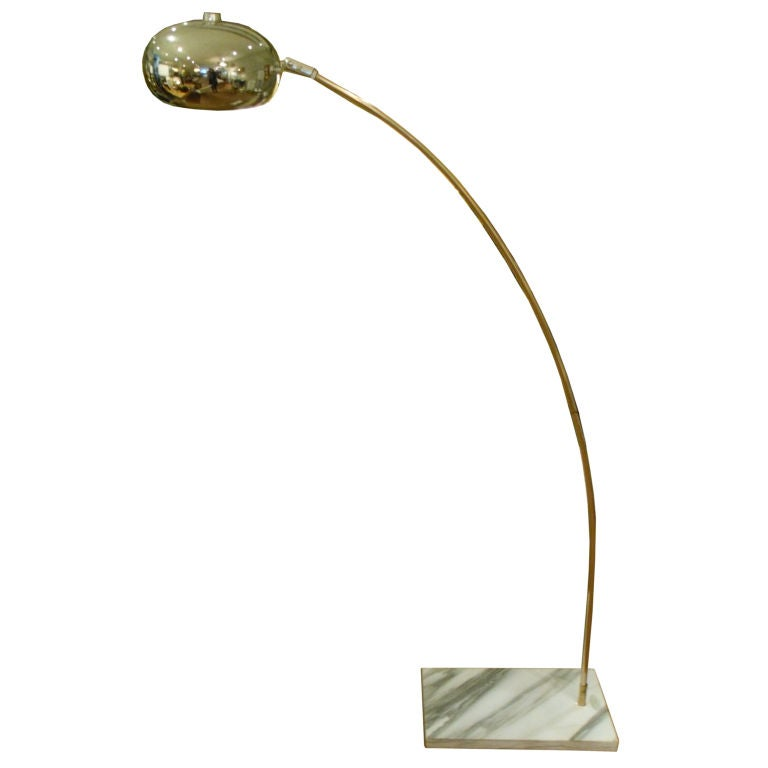 chrome arc floor lamp with marble base at 1stdibs. Black Bedroom Furniture Sets. Home Design Ideas