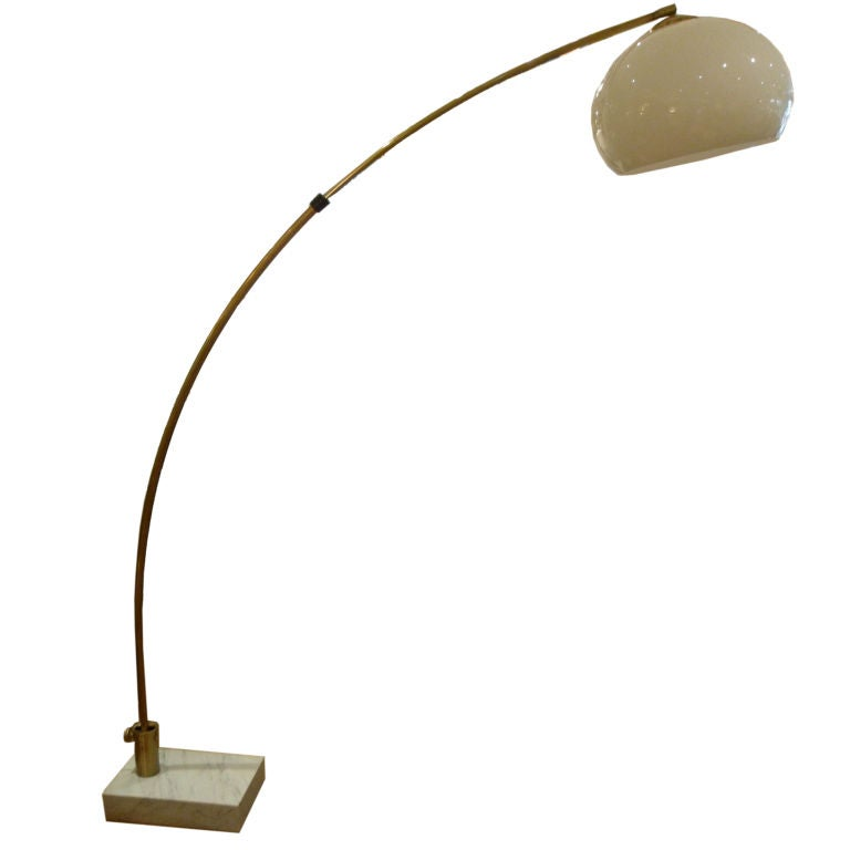 Large Brass Arc Floor Lamp With Marble Base At 1stdibs