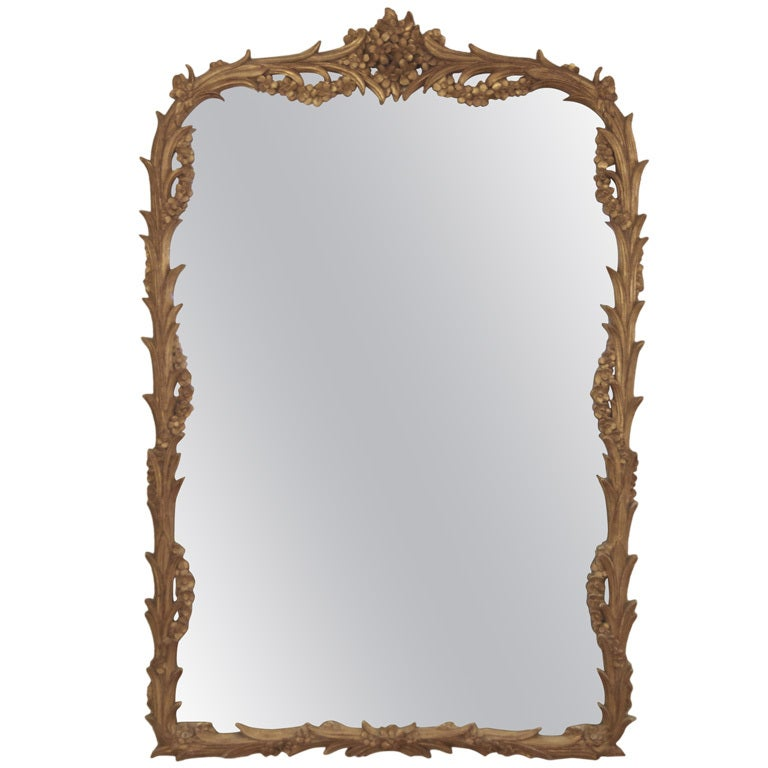 Elegant large gold leaf carved mirror at 1stdibs for Elegant mirrors