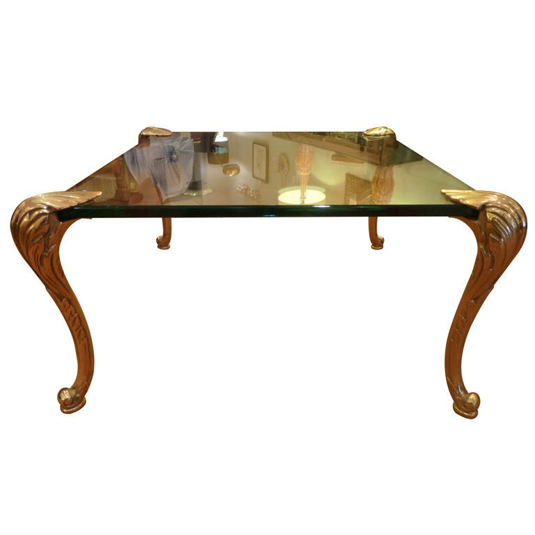 Solid Brass Leg And Glass Coffee Table At 1stdibs