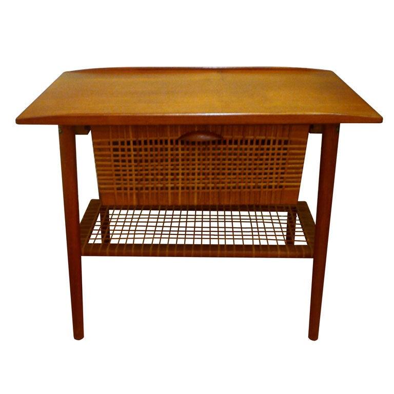 Danish Teak Sewing Basket Side Table at 1stdibs