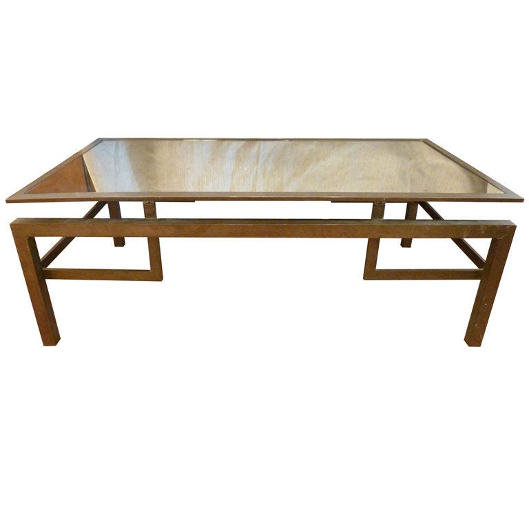 Bronze Greek Key Motif Coffee Table With Mirror Top At 1stdibs