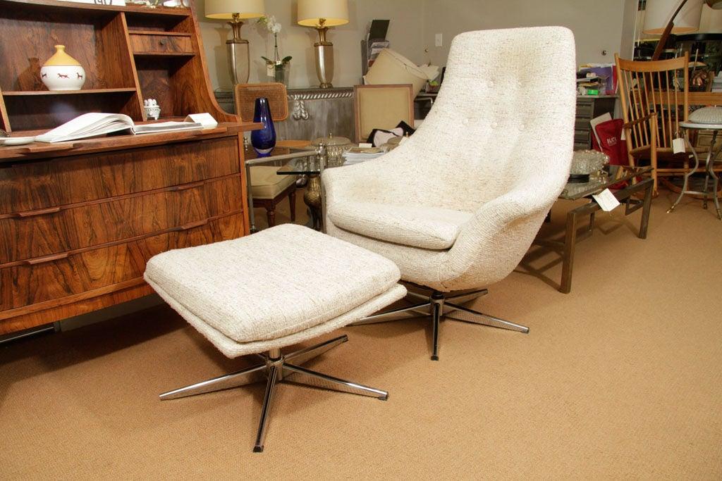 Mid Century Danish Swivel Lounge Chair And Ottoman At 1stdibs