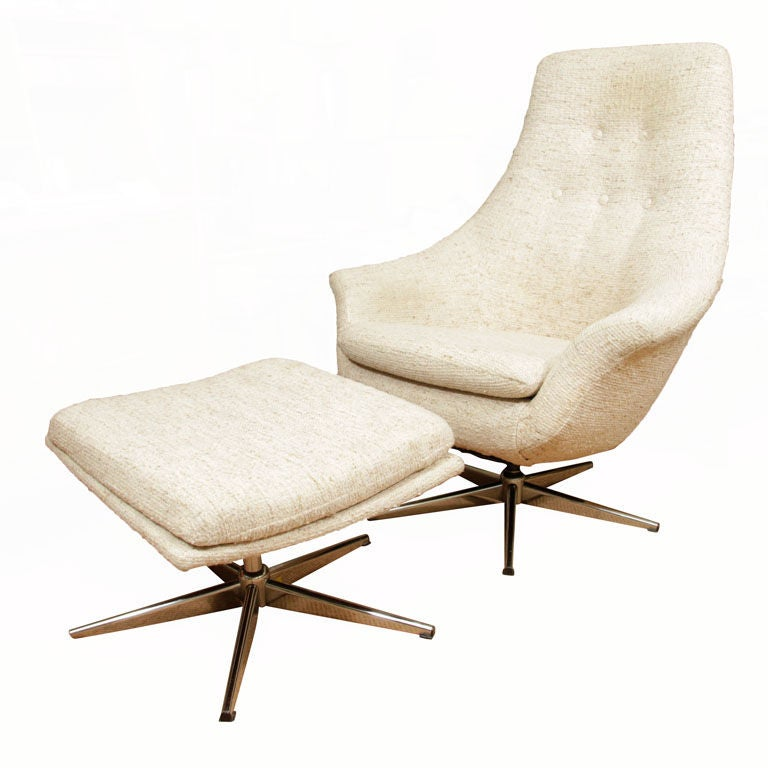 Mid Century Chair And Ottoman: Mid Century Danish Swivel Lounge Chair And Ottoman At 1stdibs