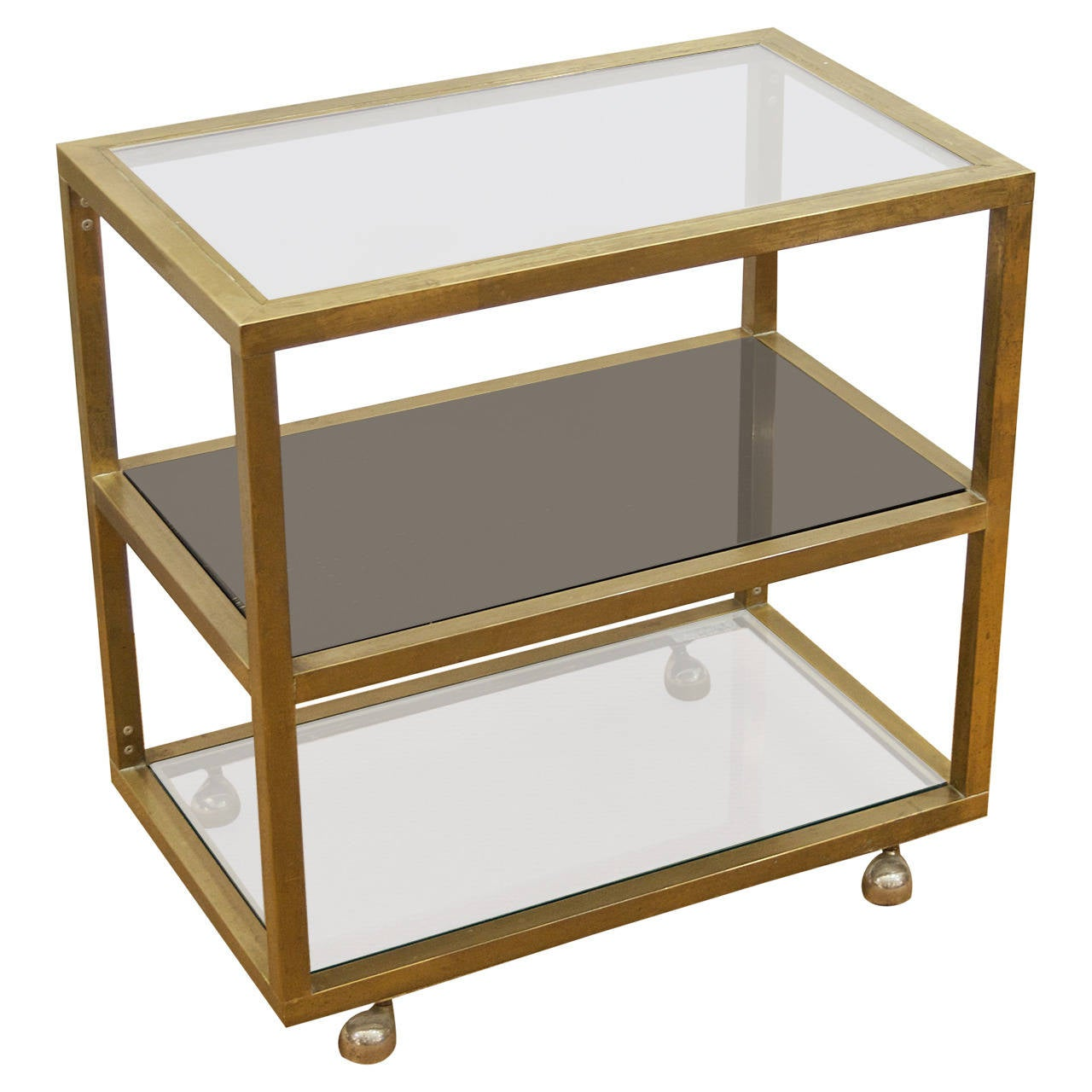 Modernist Brass and Three-Tier Smoked Glass Bar Cart