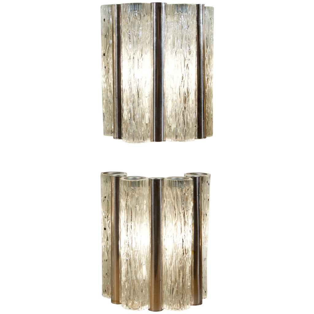 Pair of Kaiser Ice Glass and Silver Plate Tube Sconces