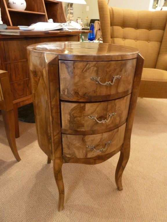 italian double sided round olivewood commode with drawers. Black Bedroom Furniture Sets. Home Design Ideas