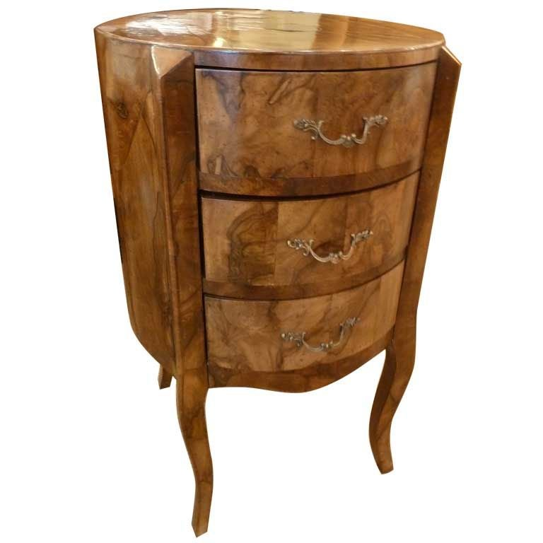 italian double sided round olivewood commode with drawers at 1stdibs. Black Bedroom Furniture Sets. Home Design Ideas