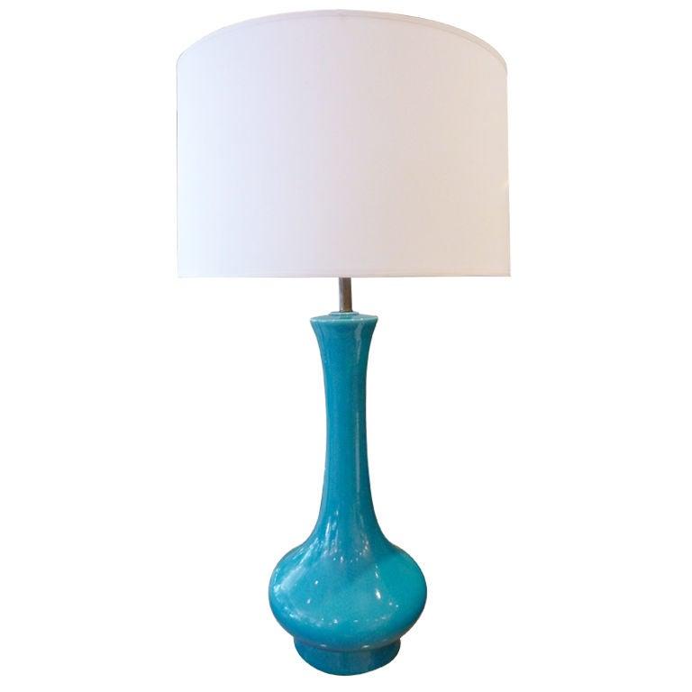 ceramic glazed blue table lamp at 1stdibs. Black Bedroom Furniture Sets. Home Design Ideas