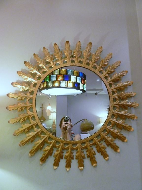 Large round tole gold leaf motif mirror at 1stdibs for Large round gold mirror