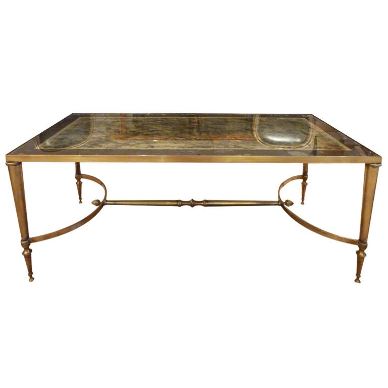 Jansen style eglomise inset glass bronze and brass coffee for Bronze metal coffee table