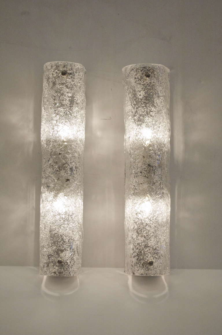 Glass Tube Wall Lights : Pair of Kalmar Ice Glass Tube Sconces at 1stdibs