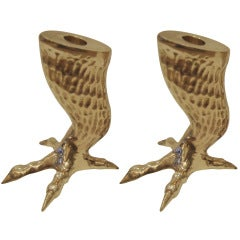 Pair of Brass Talon Candle Stick holders