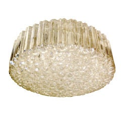 Large Limburg Ribbed Round Bubble Glass Flushmount thumbnail 1