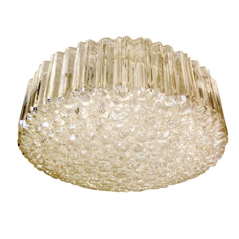 Large Limburg Ribbed Round Bubble Glass Flushmount