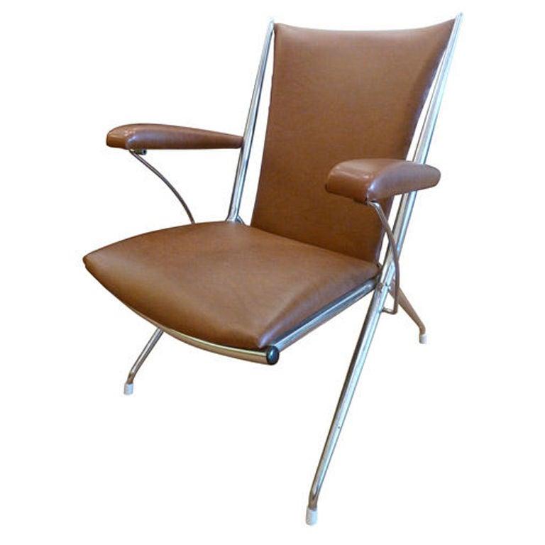 Chrome Folding Upholstered Armchair At 1stdibs