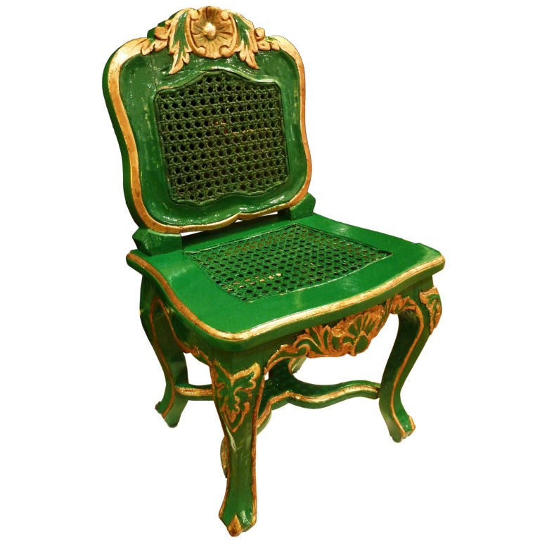 Emerald Green and Gilt Louis XVI Children s Chair at 1stdibs
