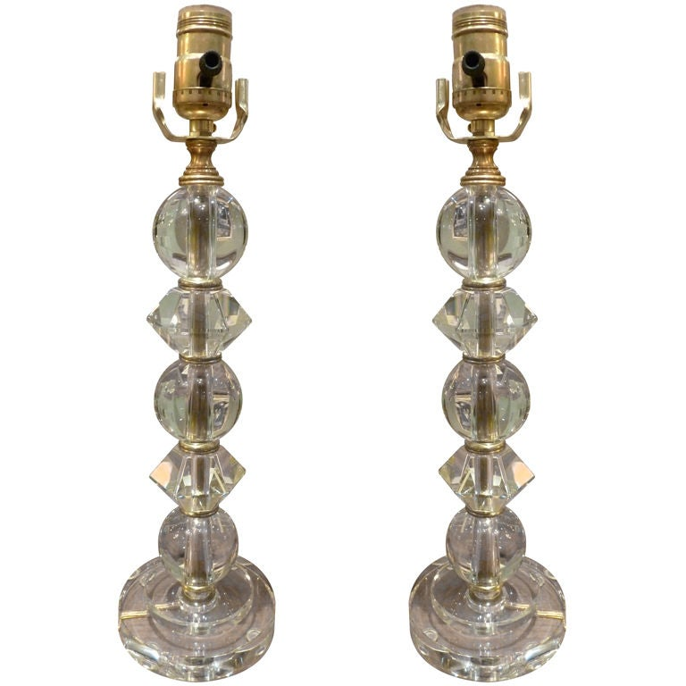 Pair of Crystal Lucite and Brass Table Lamps at 1stdibs