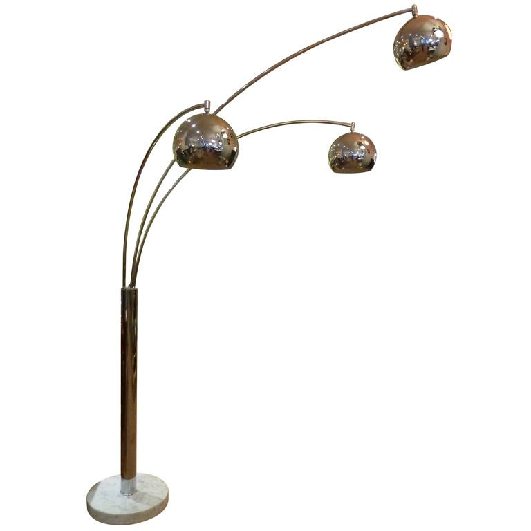 Large chrome three shade arc lamp with marble base at 1stdibs - Arc floor lamp shade ...