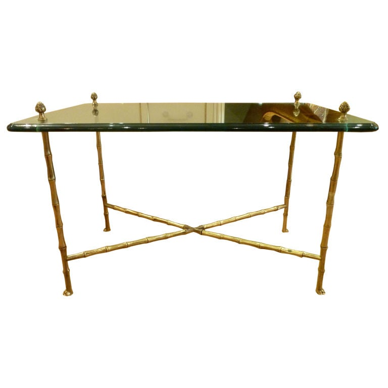 Bagues Solid Brass And Glass Bamboo Coffee Table At 1stdibs