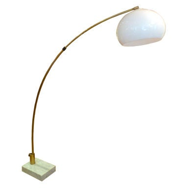 large brass arc marble base floor lamp with white shade at 1stdibs. Black Bedroom Furniture Sets. Home Design Ideas