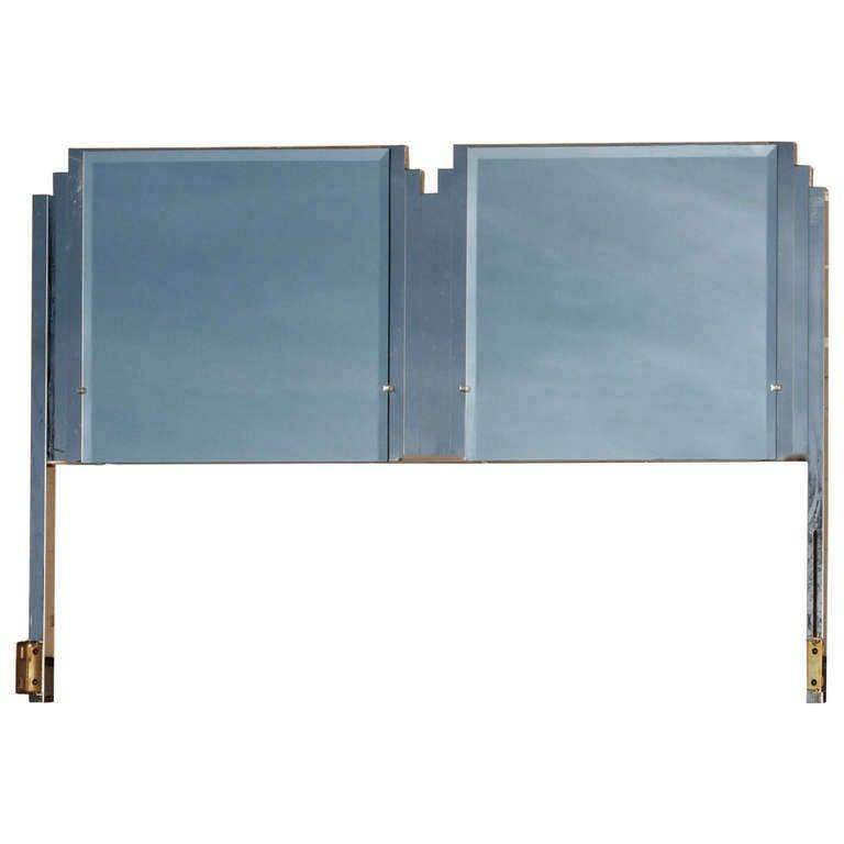 Ello King Sized Mirror & Chrome Steel Headboard For Sale