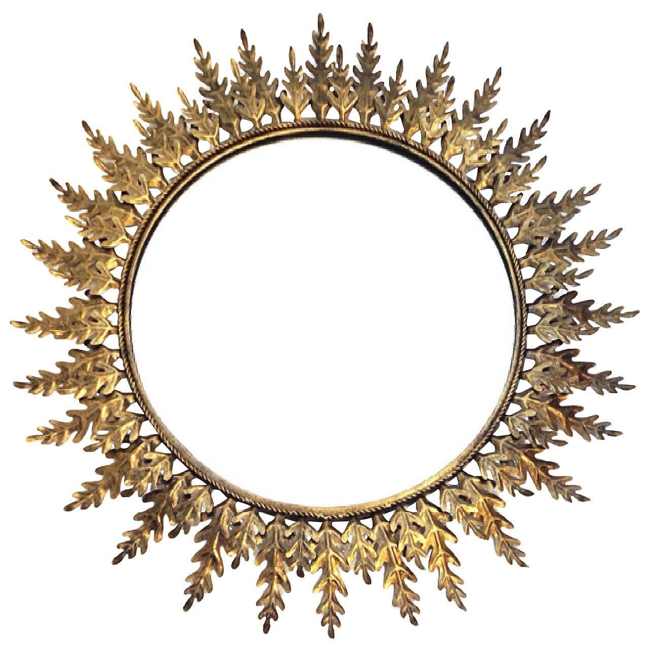Large Sunburst Metal Mirror with Leaf Pattern