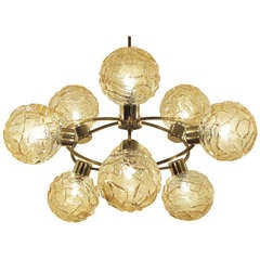 Orbital Brass Chandelier with 9 Amber Globes