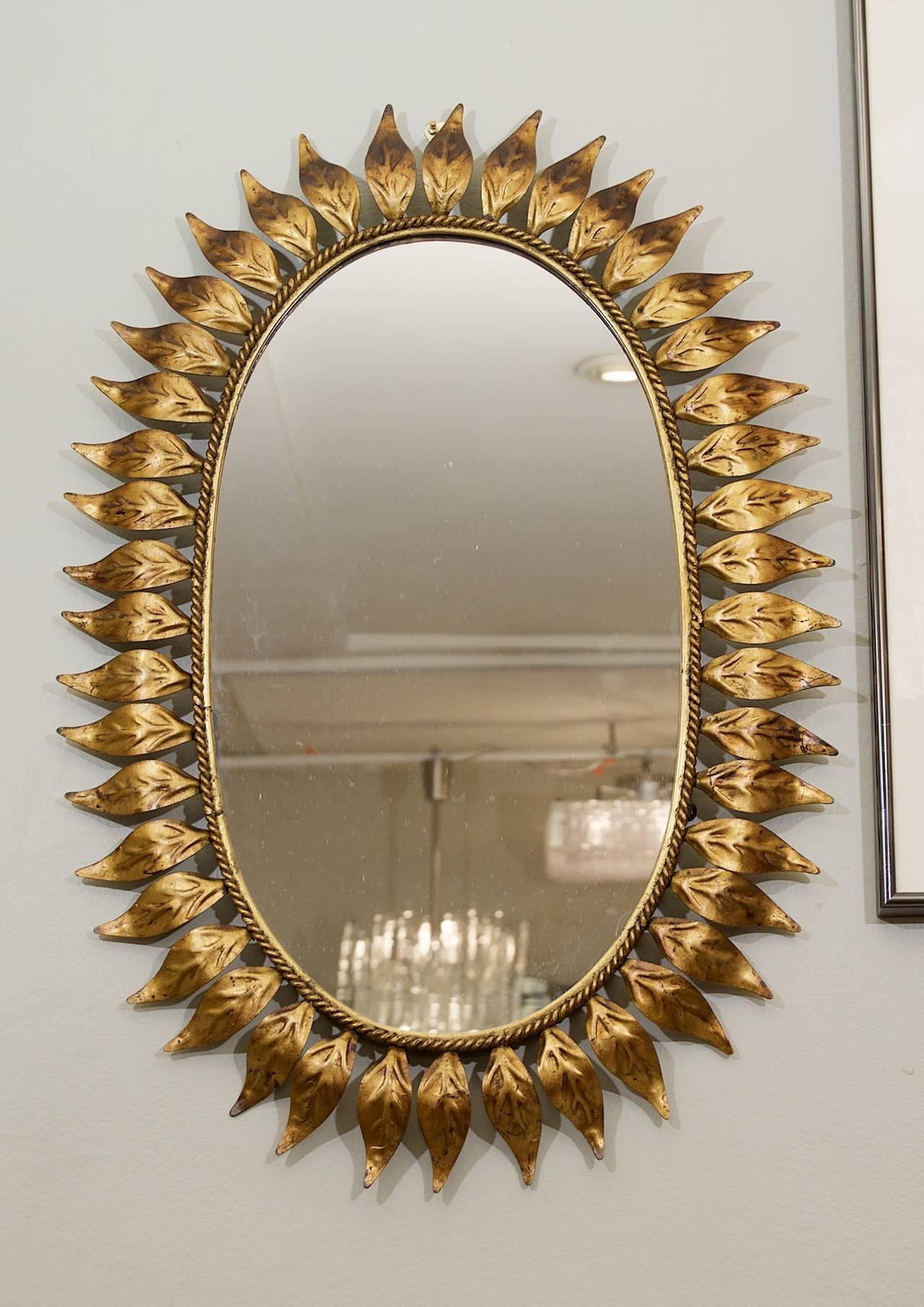 Oval gold leaf sunburst mirror at 1stdibs for Sunburst mirror