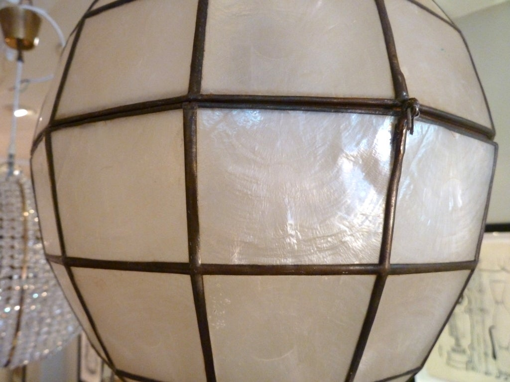 teardrop ornament shaped capiz shell pendant light at 1stdibs. Black Bedroom Furniture Sets. Home Design Ideas