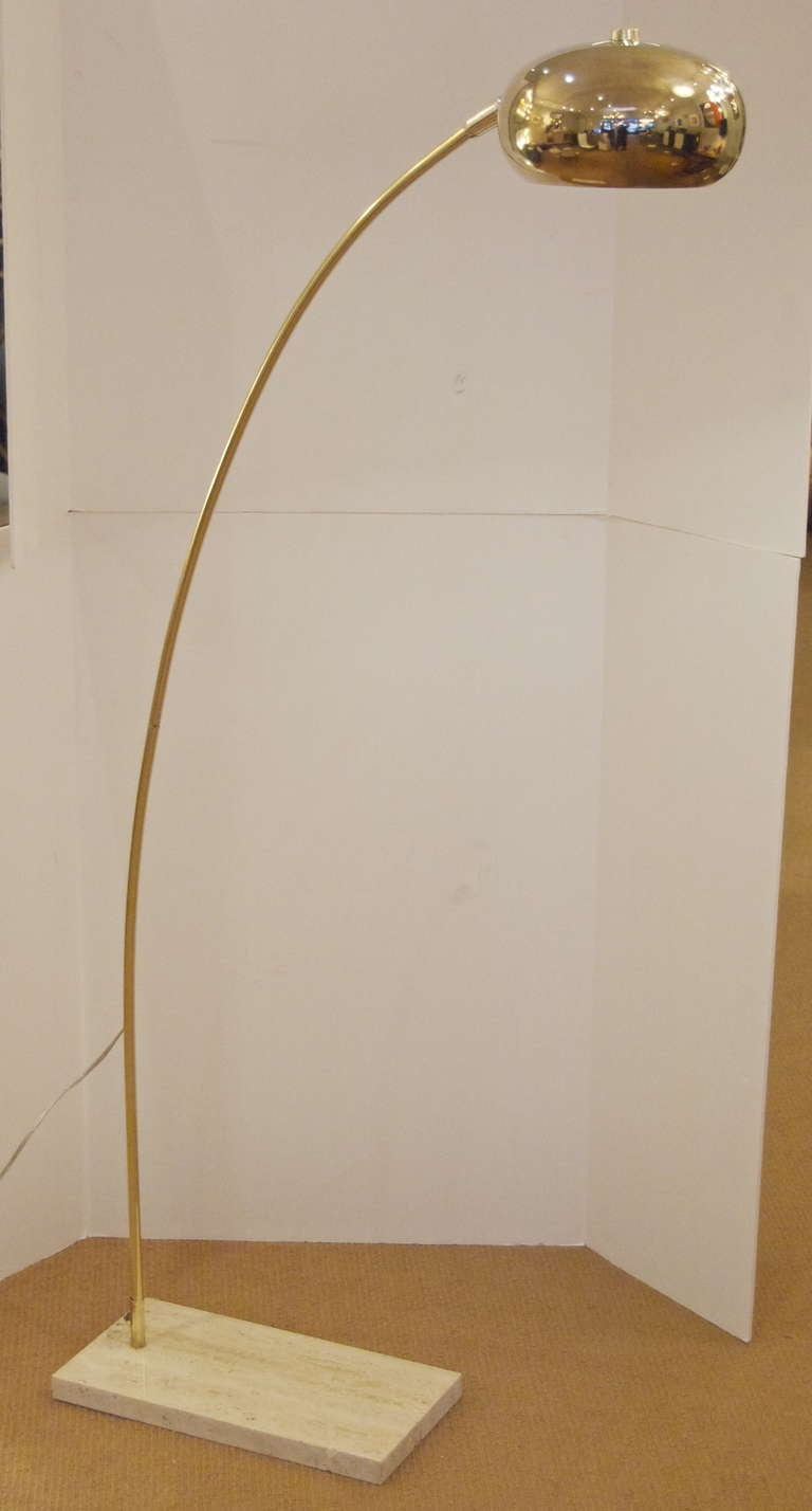 Brass Arc Floor Lamp With Travertine Base At 1stdibs