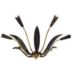 Brass and Black Enamel Leaf Stilnovo Chandelier