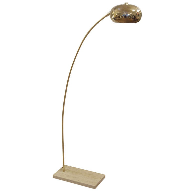 brass arc floor lamp with travertine base at 1stdibs. Black Bedroom Furniture Sets. Home Design Ideas